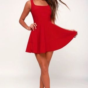Lulu's • Red Fit & Flare Skater Dress NWT